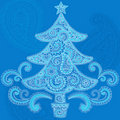 Christmas Tree Henna Paisley Doodle Design Royalty Free Stock Photography
