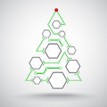 Christmas tree hexagonal cells in the form of interconnected Stock Photo