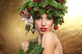 Christmas Tree Holiday Hairstyle and Make Royalty Free Stock Photo