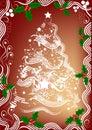 Christmas tree and holly  Stock Photos
