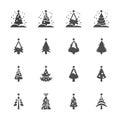 Christmas tree icon set 3, vector eps10 Royalty Free Stock Photo