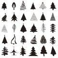 Christmas tree icon set Royalty Free Stock Photo