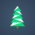 Christmas tree icon with snow