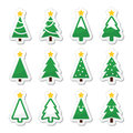 Christmas tree icons set decorated labels on white Stock Photography