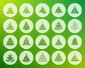 Christmas Tree shape carved flat icons vector set