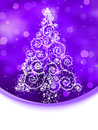 Christmas tree illustration on violet bokeh. EPS 8 Royalty Free Stock Photo