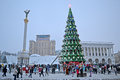 Christmas Tree and Independence monument in Kiev, Ukraine, Royalty Free Stock Image