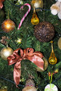 Christmas tree installment with rustic ornaments Stock Photo