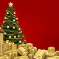 Christmas tree isolated on red Stock Photo