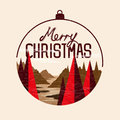 Christmas tree landscape with merry message vector illustration Stock Images
