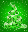 Christmas Tree Leaf Swirls Sparkles and Ornaments Stock Image