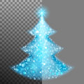 Christmas tree from light and bokeh. EPS 10 vector