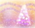 Christmas tree light bokeh and snow background with snowflake wreathe defocused abstract Stock Image