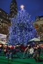 Christmas tree lighting celebration at Bryant Park