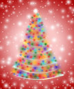 Christmas tree in lights Royalty Free Stock Photography