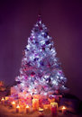 Christmas Tree Lights, Decorated Xmas Tree, Presents Candles Royalty Free Stock Photo
