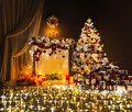 Christmas Tree Lights Room Interior, Decorated Xmas Fireplace Royalty Free Stock Photo