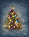 Christmas tree with lights in winter Royalty Free Stock Image