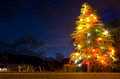 Christmas tree lit at night along the side of the road Stock Photo
