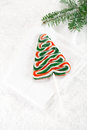 Christmas tree lolly on a festive christmas snow background Royalty Free Stock Photography