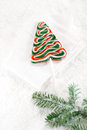 Christmas tree lolly on a festive christmas snow background glitter Stock Image