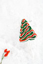 Christmas tree lolly on a festive christmas snow background white Royalty Free Stock Photography