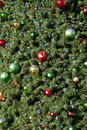 Christmas tree loseup closeup of ornaments on for texture and background Stock Images
