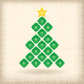 Christmas tree made of buttons on striped background Stock Photography