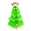 Christmas tree made of cardboard boxes green one inside another Royalty Free Stock Image