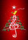 Christmas tree made of green musical notes, candy bar shaped treble clef and yellow bird singing and title: FELIZ NAVIDAD