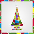 Christmas tree made of mosaic with a star and the text Merry Christmas. Royalty Free Stock Photo