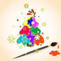 Christmas tree made of multicolored spots of paint on paper, snowflakes and brush with paint. Vector illustration for Christmas an Royalty Free Stock Photo