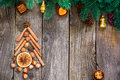 Christmas tree made of nuts, spices and dried oranges. Viewed from above Royalty Free Stock Photo
