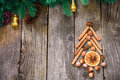 Christmas tree made of nuts, spices and dried oranges. Viewed fr Royalty Free Stock Photo