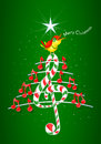 Christmas tree made of red musical notes, candy bar shaped treble clef and yellow bird singing and title: MERRY CHRISTMAS