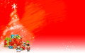Christmas tree made from stars and colored gifts (red background) Royalty Free Stock Photo