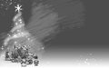 Christmas tree made from stars and gifts (gray background gradient) Royalty Free Stock Photo
