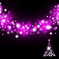 Christmas tree from magenta snowflakes on dark background Royalty Free Stock Images