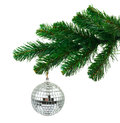 Christmas tree and mirror ball isolated on white background Stock Photography