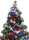 Christmas tree with money dollar garland. Royalty Free Stock Photo