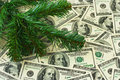 Christmas tree and money holiday background Royalty Free Stock Photo