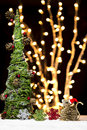 Christmas Tree Mouse Santa Hat Ornaments Night Bokeh Rustic Royalty Free Stock Photo