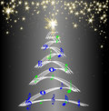 Christmas tree music notes stars Royalty Free Stock Photo