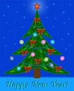 Christmas tree on night star  background Royalty Free Stock Photo