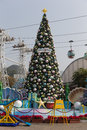 Christmas tree in ocean park hong kong it is one of the two large theme parks it is a marine mammal oceanarium Royalty Free Stock Photos