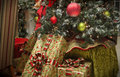 Christmas tree old style presents and decorations Royalty Free Stock Photo