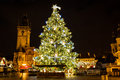 Christmas tree at Old Town Square at night, Prague, Czech Republic