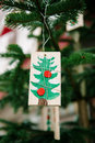Christmas tree ornament in childish style traditional hand crafted made from natural materials cute Royalty Free Stock Photography