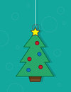 Christmas tree ornament hanging with green background Stock Photos