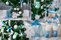 Christmas tree and ornaments in blue and mint collage with decorated colors a handmade snowman Royalty Free Stock Photo